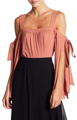 BCBGMAXAZRIA Tie Cold Shoulder Blouse