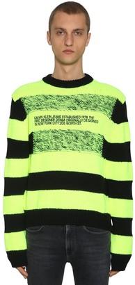 Calvin Klein Established 1978 Striped Logo Wool Blend Intarsia Sweater