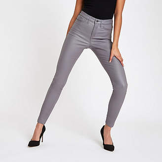 River Island Grey coated mid rise Molly jeggings
