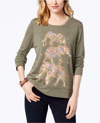 Style&Co. Style & Co Elephants Graphic-Print Sweatshirt, Created for Macy's