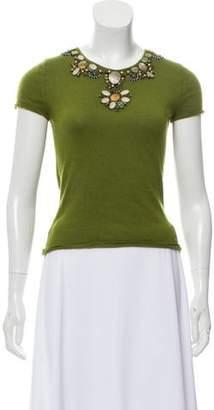 Oscar de la Renta Embellished Short Sleeve Sweater