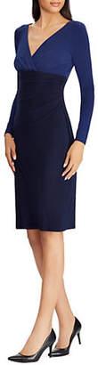 Lauren Ralph Lauren Surplice Neck Slim-Fit Dress