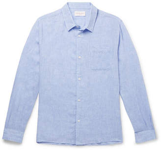 Derek Rose Monaco Melange Linen Shirt - Men - Blue