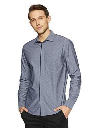 Casual Terrains Men's Tailored Slim-Fit Vintage Contrast Hidden Placket Shirt