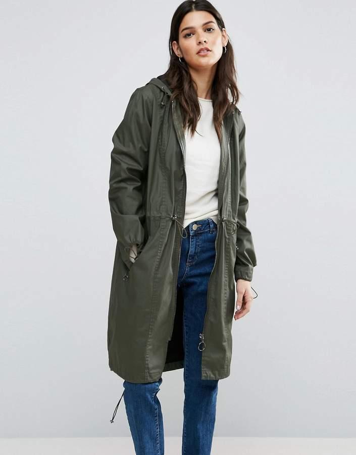 AsosASOS Waxed Parka Raincoat With Zip Detail