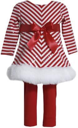 Bonnie Baby Bonnie Jean Girls Sequins Christmas Santa Dress Legging Outfit