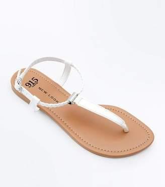 3388a1dfffd New Look Girls White Plait Strap Flat Sandals