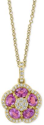 "Effy Pink Sapphire (1-1/5 ct. t.w.) & Diamond (1/4 ct. t.w.) Flower 18"" Pendant Necklace in 14k Gold"