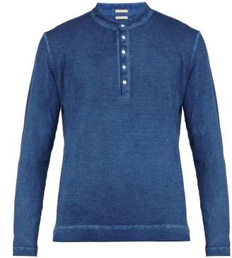 Massimo Alba Garment Dyed Long Sleeved Cotton Henley T Shirt - Mens - Blue