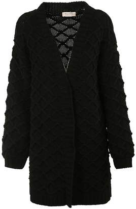 Black Coral Cable Knit Cardigan