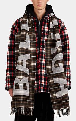Balenciaga Men's Logo Plaid Wool Scarf - Dk. brown
