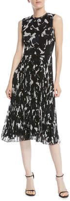 Jason Wu Sleeveless Floral-Print Pleated-Skirt Chiffon Midi Cocktail Dress