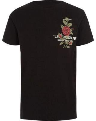 River Island Boys black 'legend' floral print T-shirt