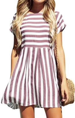 ZXZY Women Crew Neck Short Sleeve Striped A-line Casual Mini Dress with Pocket
