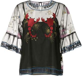 Muveil embroidered mesh blouse
