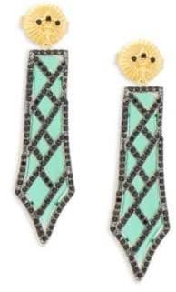 Freida Rothman Green Agate Dangle Earrings