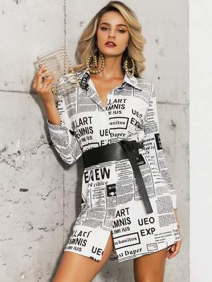Shein Glamaker Newspaper Print Shirt Dress Without Belt