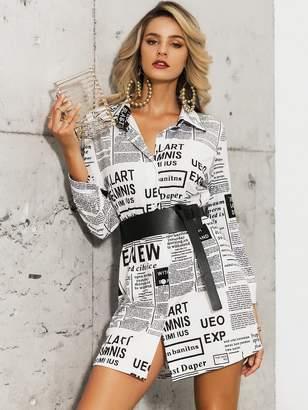 Shein Glamaker Newspaper Print Shirt Dress Without Belt