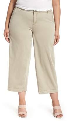 Caslon Wide Leg Stretch Cotton Twill Crop Pants
