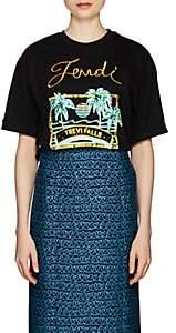 Fendi Women's Embellished Cotton Jersey T-Shirt - Black