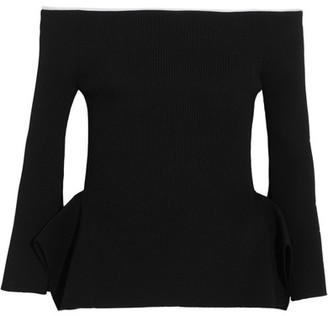 Roland Mouret - Cartwright Off-the-shoulder Ribbed-knit Top - Black $975 thestylecure.com
