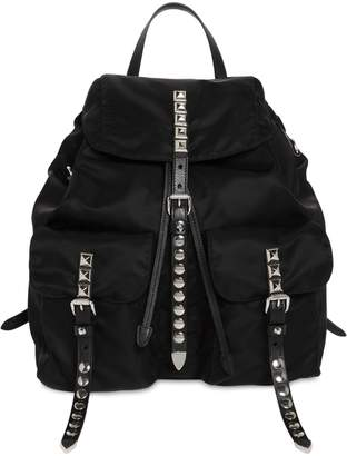 Prada Nylon Backpack W/ Studded Straps