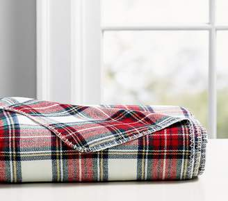 Pottery Barn Kids Plaid Morgan Yarn Dyed Bed Blanket, Twin, White
