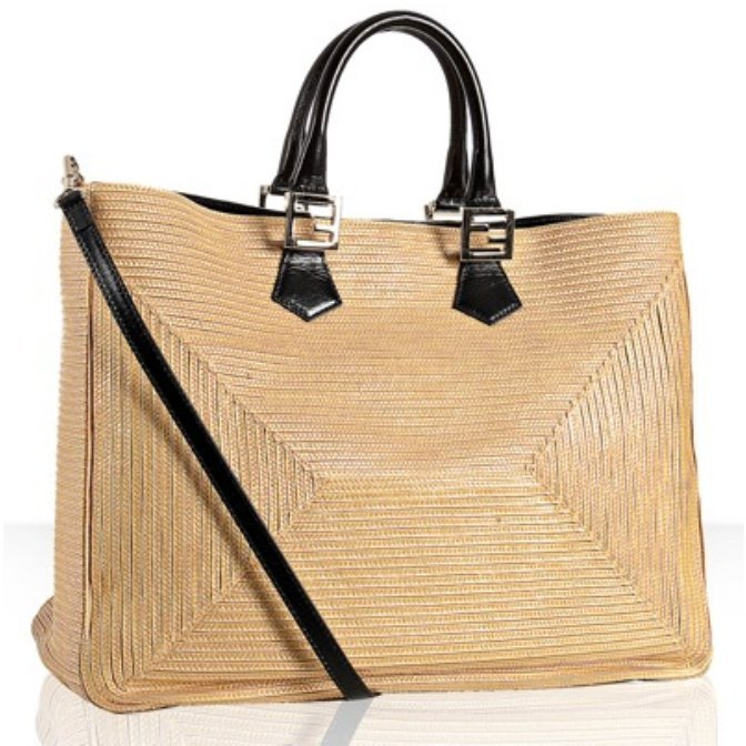 Fendi natural straw and canvas 'Twins' shopping tote