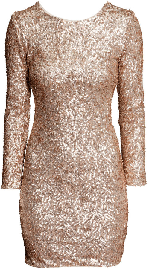 H&M - Sequined Dress - Light beige - Ladies