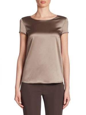 Armani Collezioni Silk Satin Cap Sleeve Blouse
