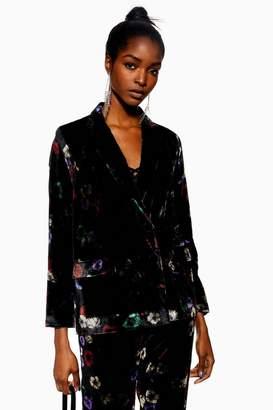 Topshop Floral Velvet Jacket