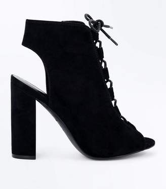New Look Black Suedette Lace Up Peep Toe Heels