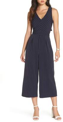1901 Pinstripe Tie Back Crop Jumpsuit