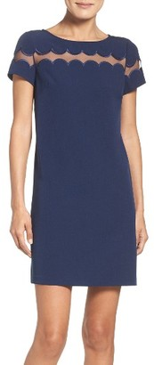 Women's Adrianna Papell Scallop Inset Crepe Sheath Dress $98 thestylecure.com