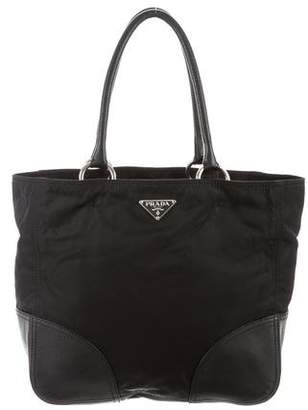 Prada Leather-Trimmed Vela Handle Bag