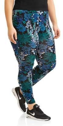 Danskin Women's Plus Active Allover Floral Print Ankle Leggings