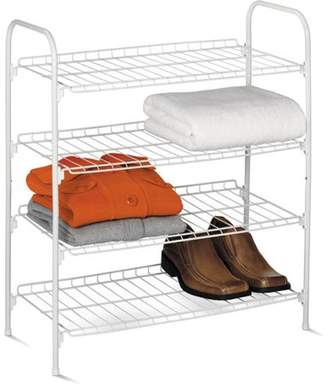 Honey-Can-Do 4-Tier Wire Shoe and Accessory Shelf/Closet Shelf, White