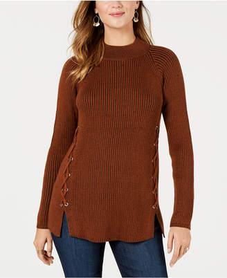 Style&Co. Style & Co Lace-Up Mock-Turtleneck Sweater