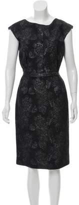 Lela Rose Silk-Blend Metallic Dress