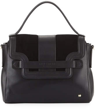 Halston Mixed Top Handle Satchel Bag, Black