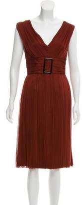 Alberta Ferretti Silk Pleated Dress
