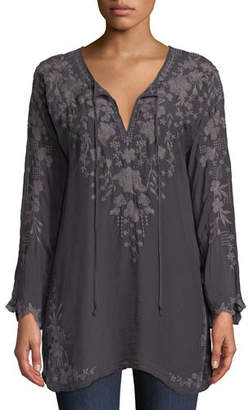 Johnny Was Butterfly Winter Rayon Tie-Neck Tunic