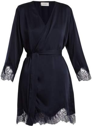 Icons Lily lace-trimmed silk-satin kimono