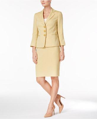 Le Suit Jacquard Three-Button Skirt Suit $240 thestylecure.com