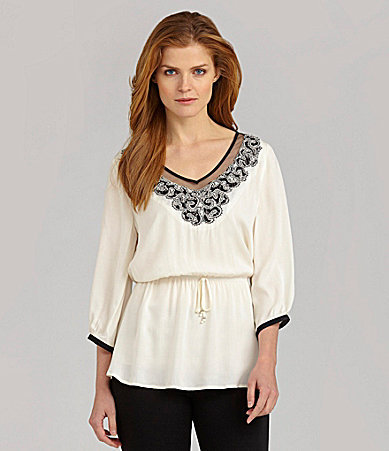 Nurture Embellished-Neck Peasant Blouse