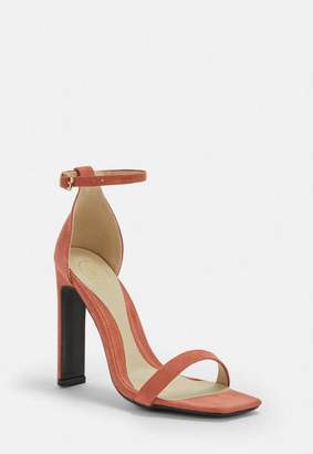 Missguided Terracotta Pink Square Toe Barely There Heels