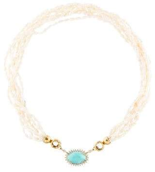 18K Diamond, Turquoise & Pearl Bead Necklace