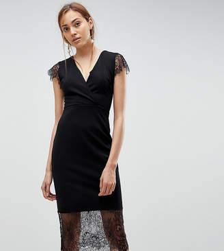 Asos Tall TALL Pencil Dress with V Neck and Lace Sleeves and Hem