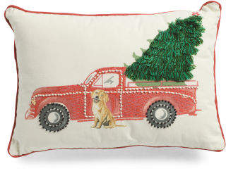 Made In India Truck With Tree And Dog Pillow