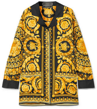 Versace - Printed Silk Satin-twill Shirt - Black